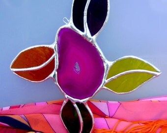 Stained Glass Daisies Daisy Flower Power Hippie Suncatcher Psychedelic Mothers Day Spring Birthday Gift Original Design©