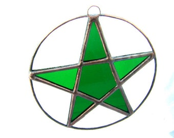 Pentagram Stained Glass Halloween Pentacle Witch Pagan Wicca Yule Altar Gifts Birthday Valentines Home Decor Original Design©