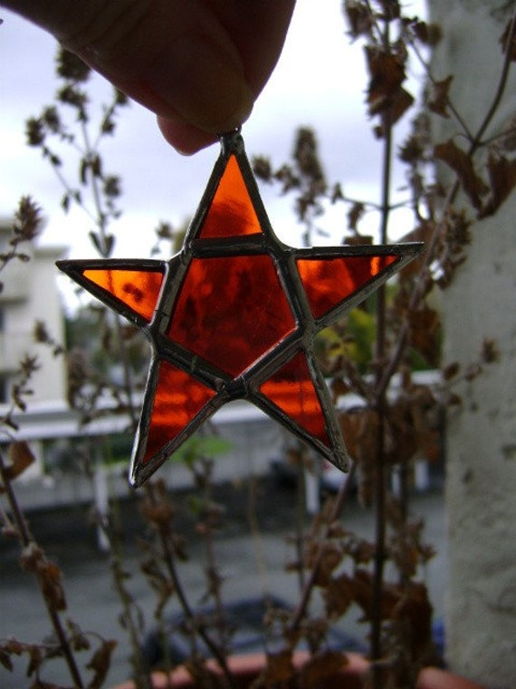 Star Pentagram Pentacle Christmas Yule Winter Solstice Stained Glass Suncatcher Pagan Wicca Birthday Wedding