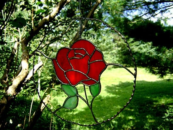 Red Roses Suncatcher Stained Glass Valentines I Love You Wedding Flowers Christmas Flowers Suncatchers Housewarming Anniversary Yule Gift