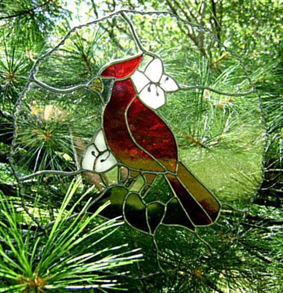Bird Cardinal Stained Glass Suncatcher Christmas Solstice Wedding Gift Yule Mothers Day Fathers Day Housewarming