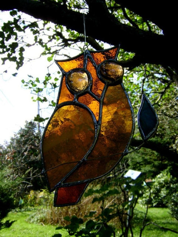 Owl Stained Glass Suncatcher Christmas Yule Wise Birds Mothers Day Valentines Birthday Halloween Housewarming Original Design©