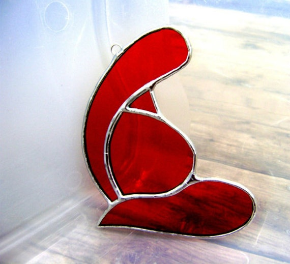 Doula Midwife Goddess Birth Pregnancy Stained Glass Red Infant Baby NewBorn Solstice Yule Valentines Original Design©