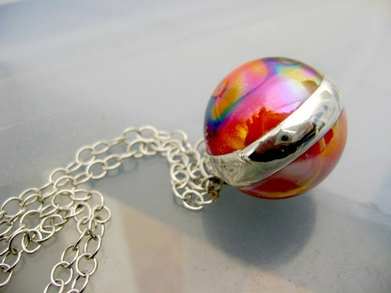 Glass Ball Necklace Pendant Iridescent Spring Colors Orange Purple Pink Psychedelic OOAK Hippy 60s 70s