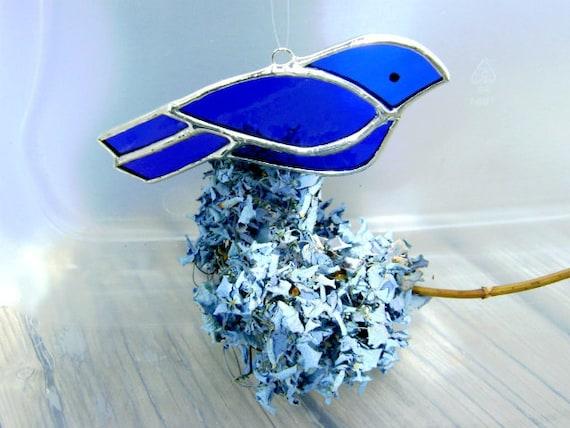 Blue Bird Stained Glass Suncatcher Christmas Yule Solstice Ornament Original Design©