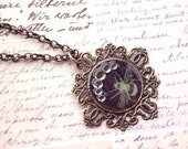 SALE - Green Bumble Bee With Coffee Brown Colored Background Cameo Necklace