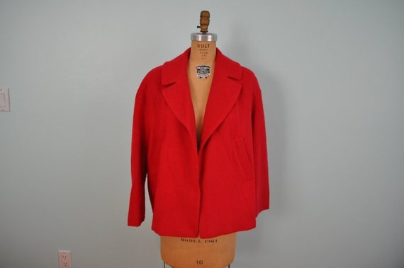 vintage swing jacket 60s short red XL