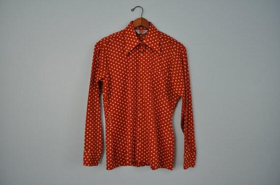 vintage polka dot mens shirt 70s