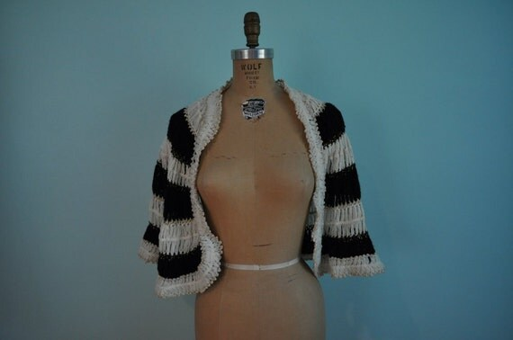 vintage striped sweater cape black and white S