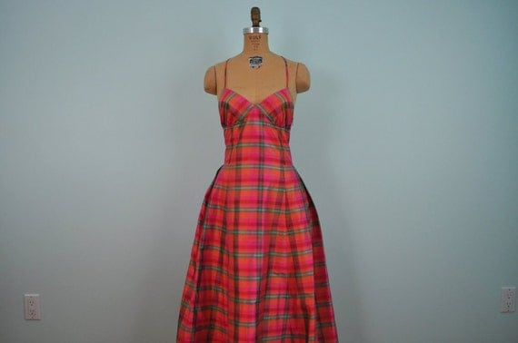 RESERVED for benitasprout // vintage party dress silk hot pink silk plaid 80's cocktail prom L/XL