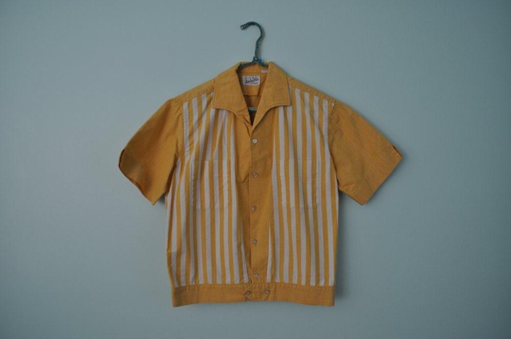 vintage 1950s mens shirt yellow stripe