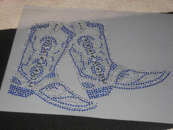Rhinestone Iron on Trsf of Cowgirl Boots in Beautiful Blue Sparkling Bling