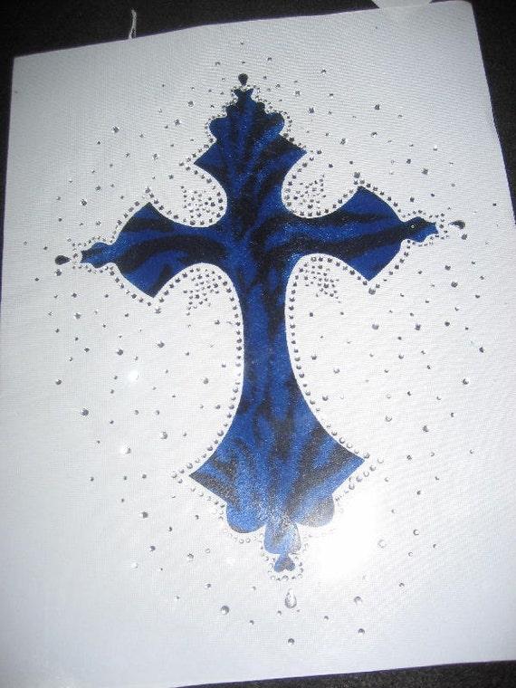 Iron on Royal Blue-n-Black Zebra Cross