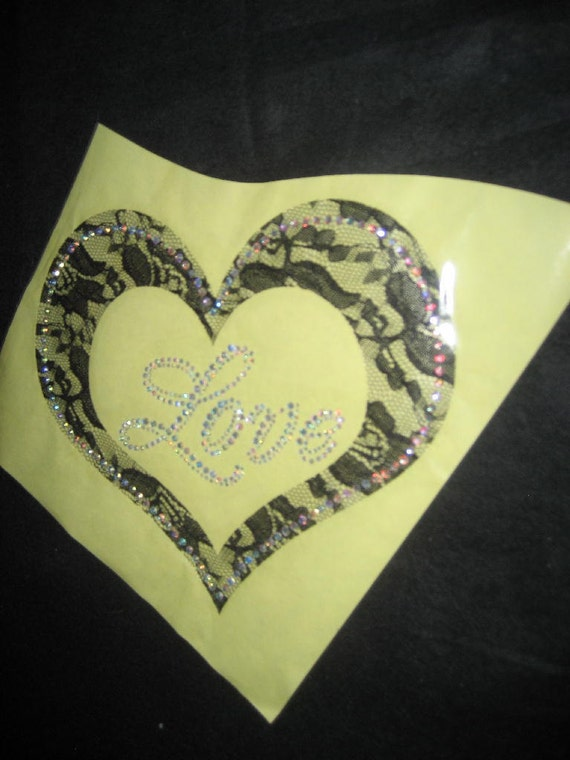 DIY Heat Transfer Black Lace Heart with the word Love Centered in rhinestones