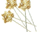 Jessica Bridal Hair Pins Ivory Champagne Pearl Cluster