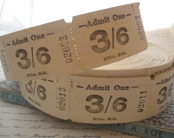 Lot of 20 Vintage Tan Admit One Tickets 3/6 Australia for Collage Altered Arts Mixed Media