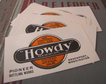 6 Vintage Howdy Soda Bottle Labels for Collage Altered Arts