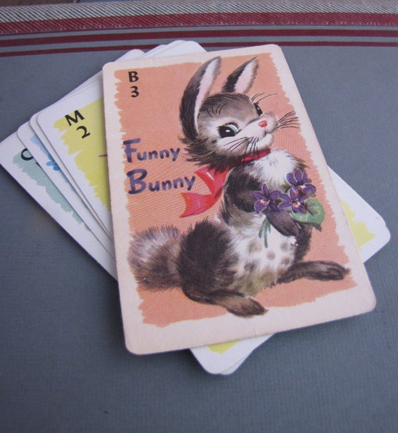 8x Vintage Childrens Game Cards Cute Animals for Collage Altered Arts