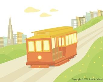 Cable Car Art Print - San Francisco, Tram, California, Wall Art, Home Decor, Boy, City, Train