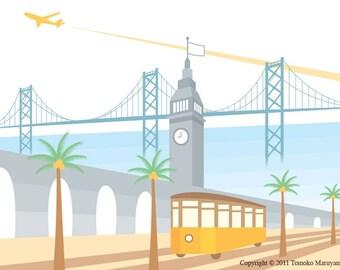 Tram at the Ferry Building Art Print - San Francisco, Ferry Building, California, Tram, Wall Art, Palm Tree, Plane, Bay Bridge