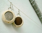 Natural Stone Earrings - Crochet Beach Stone Jewelry - Small Round Drops - OOAK Not a Perfect Pair