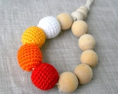 Baby Teething Toy - Crochet Beads Rattle - Natural and Eco Friendly - Wooden Beads - Chewing Toy - Yellow, Orange, Red