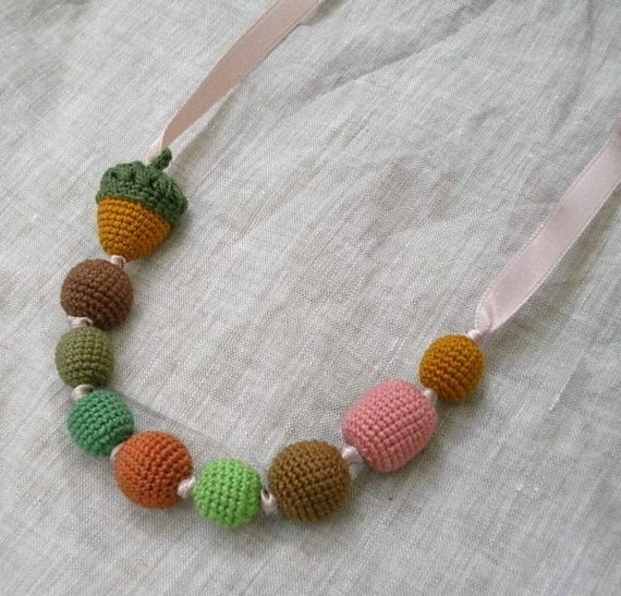 CROCHET BEADS NECKLACE Amigurumi Acorn Handmade Fiber Art