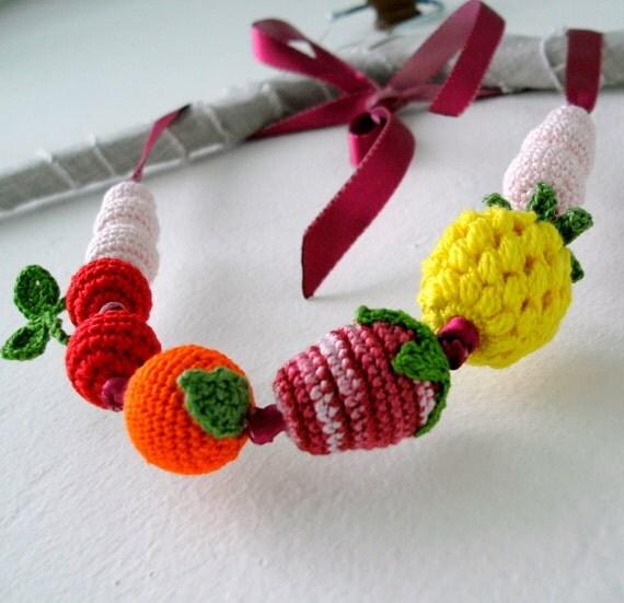 Fruits Necklace - Crochet Beads Jewelry - Children Jewelry - Amigurumi Fruits - Tutti Frutti - OOAK
