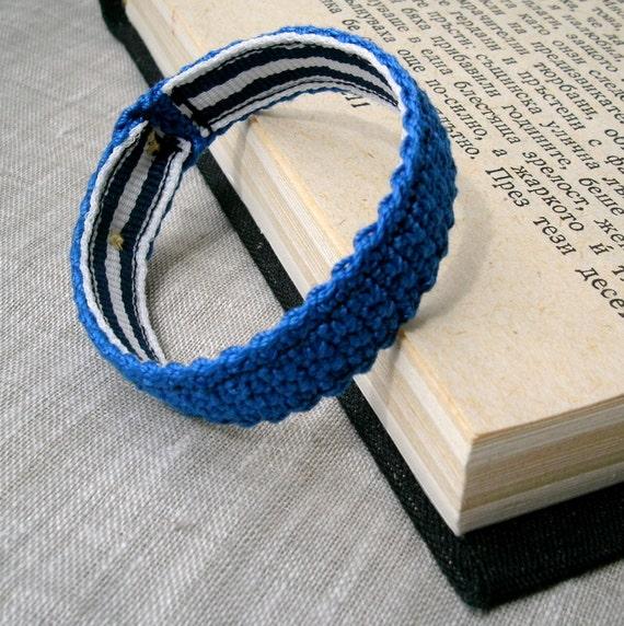 Blue Baby Bracelet - Baby Boy Bracelet - Crochet Bracelet - Cotton Baby Jewelry - Crochet Jewelry, Childrens Bracelet in Blue