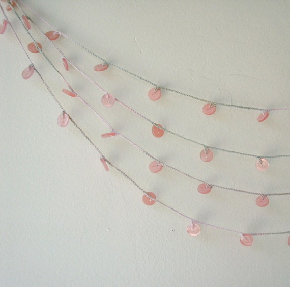Buttons Garland - Pink Crochet Garland - Rustic Shabby Chic Wedding Garland - Spring, Home, Party, Wedding, Christmas