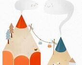 pencil Mountains orange blue children room decor  - ALPencil Print 8 x 11.5