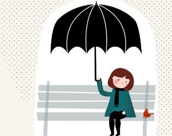 Girl umbrella rain black blue Home Decor - Sous la pluie Print 8 x 11.5