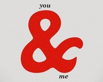 Ampersand Love Anniversary red grey - You and me Print 8 x 11.5