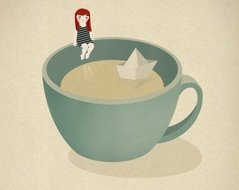Tea Coffee girl paper boat ship illustration - Cup beach Print 8 x 11.5