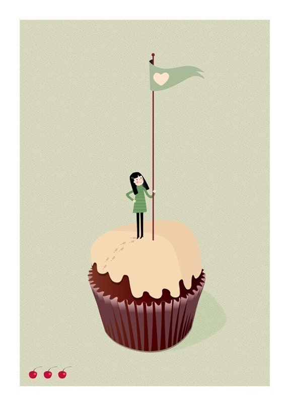 On the summit of the Cupcake Print 8 x 11.5 - girl in greens climbing a mountain muffin