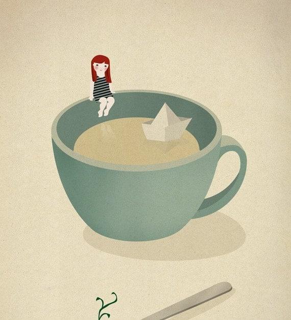 Tea Coffee girl paper boat ship illustration - Cup beach Print 8 x 11.5