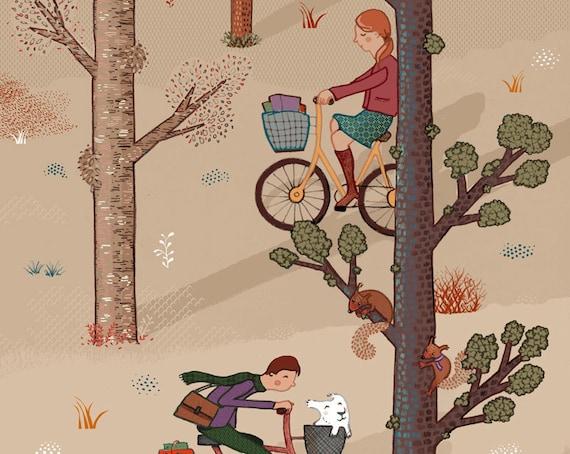 Bicycle ride love cross paths park wood romantic Home Decor - Print 8 x 11.5