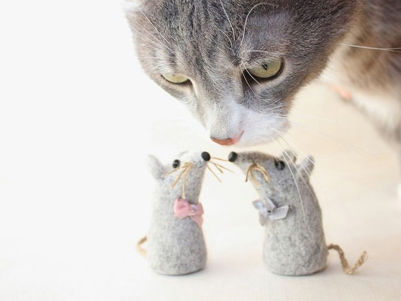 Needle felted mouse, two little gray mice, wool soft sculpture miniature