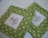 Retro Pot Holder Set of 2 Embroidered Cherries