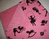 Pink Baby Girl Blanket Michael Miller Silhouettes Pink & Black