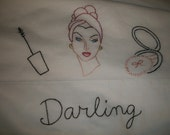 Hand Embroidered Pillowcase Retro Mid-Century Lady