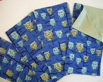 Cloth Napkin Set of 4 - Owls - Tammis Keefe Hoot Blue