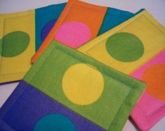 Fabric Coaster Set of 4 Mod Dot Coaster,  Dotty Coasters