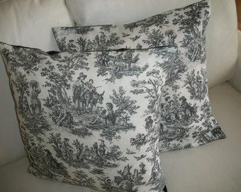 Toile de Jouy Throw Pillow Cover 18 x 18 Set of 2