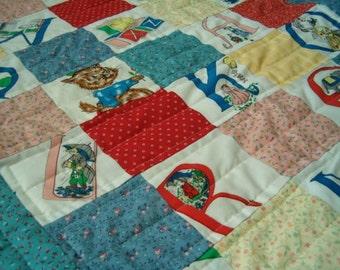 Patchwork Baby Quilt Retro Alphabet
