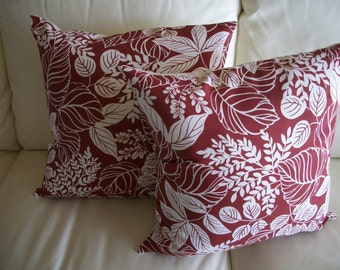Throw Pillow Covers Set of 2 Red Woodland Fern 18x18