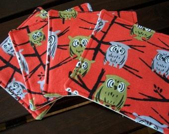 Owl Fabric Coasters Set of 4  Tammis Keefe Hoot Red