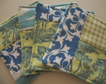 Fabric Coaster ~ Modern Patchwork ~Coaster Set of 4 in Blues and Greens