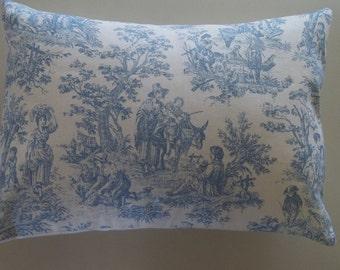Toile de Jouy Pillow Cover 12 x 16 Light Blue