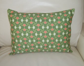 SALE ~ Throw Pillow Cover ~  12 x 16 Lumbar Pillow Cover ~ Amy Butler Decorative Pillow Cover ~ Geometric Knot ~ Coral & Green